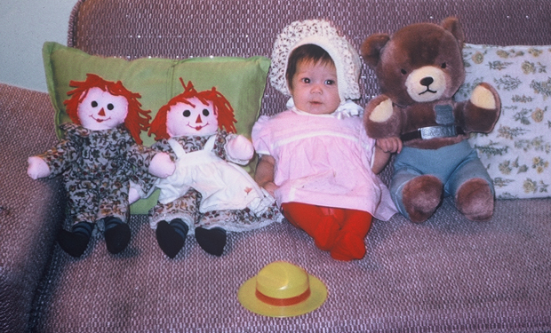Ohana Photographers vintage baby picture with smokey bear and raggedy ann
